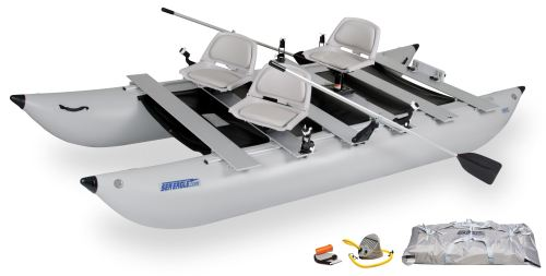 Buy boating shops - 440fc Deluxe Inflatable Pontoon Fishing Boat Package