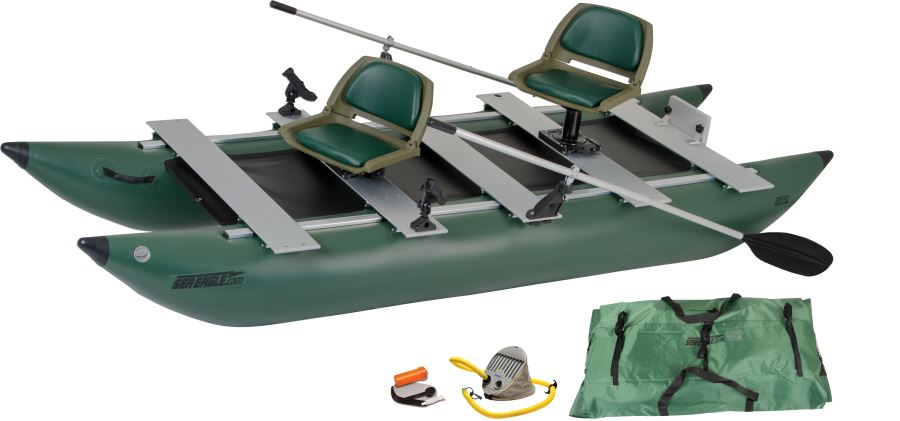 Sea eagle 375fc 2 person inflatable fishing boats package for Two man fishing boat
