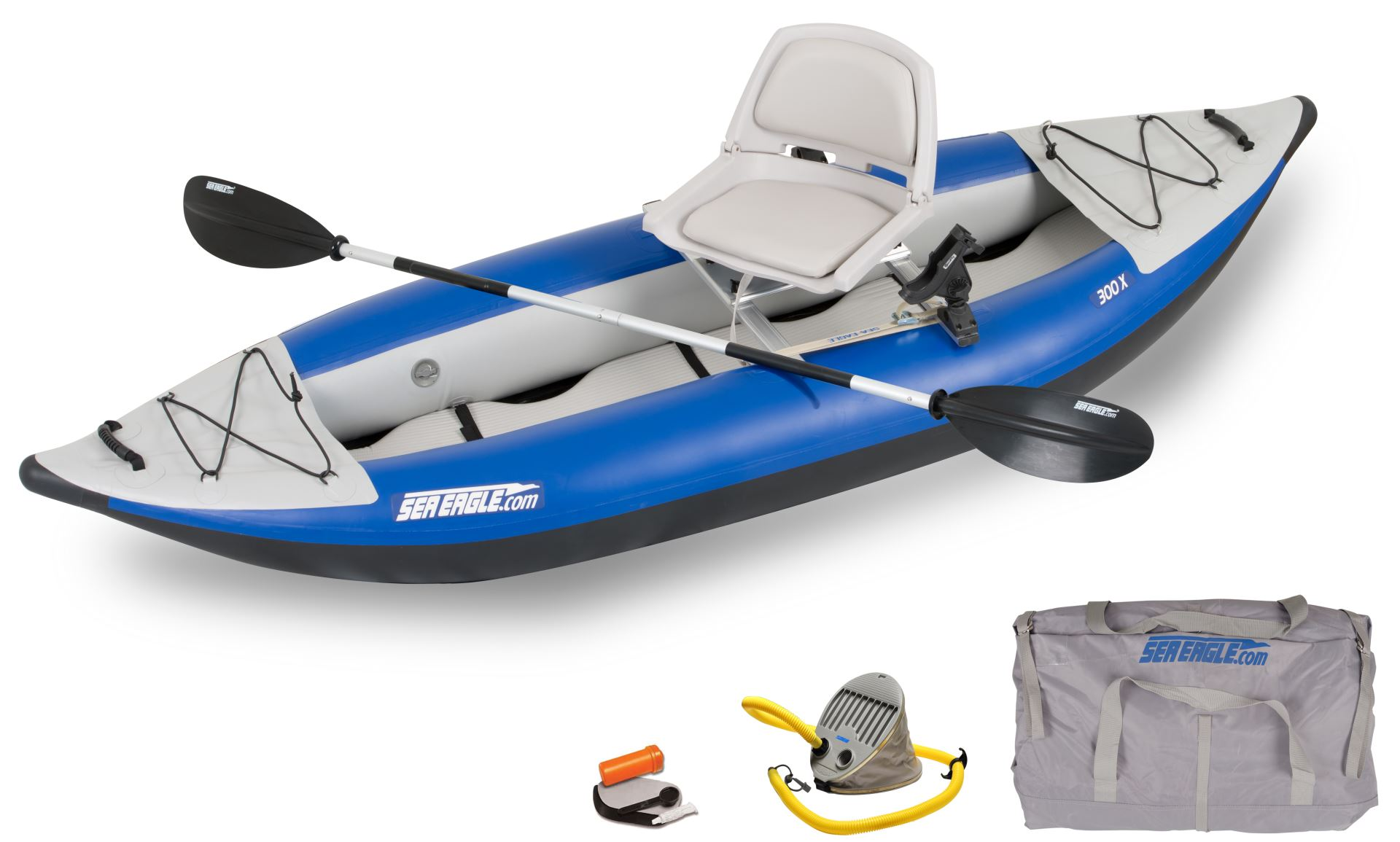 Sea eagle 300x 1 person inflatable kayaks package prices for Kayak fishing seats