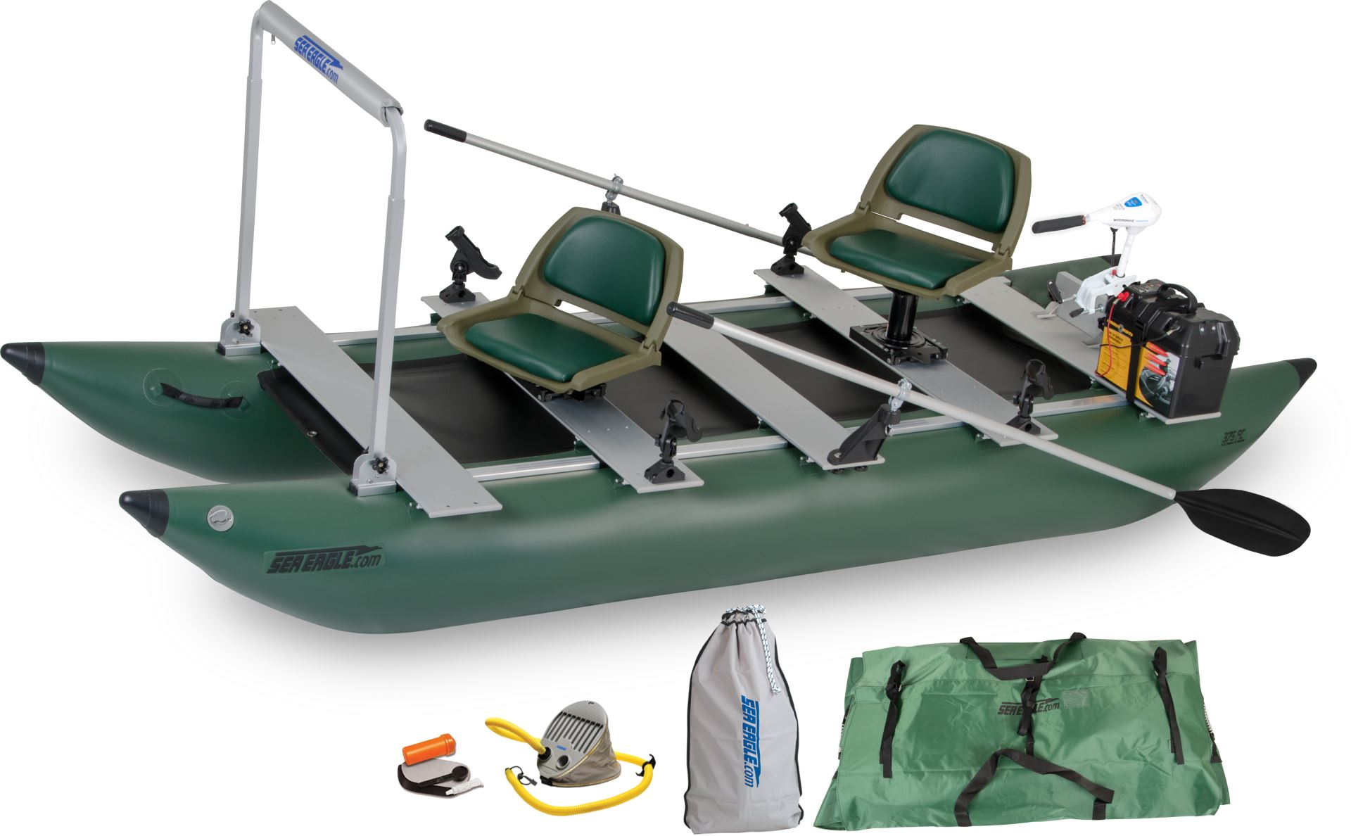 Sea eagle 375fc 2 person inflatable fishing boats package for 4 person fishing boat