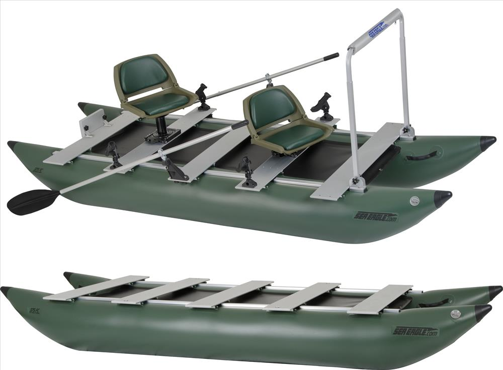 Sea eagle 375 foldcat inflatable pro angler guide pontoon for Inflatable pontoon boat fishing